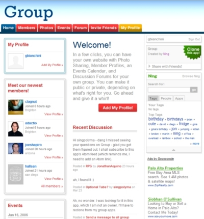 Group homepage