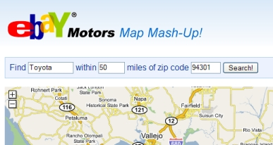 eBay Motors Map Mash-up