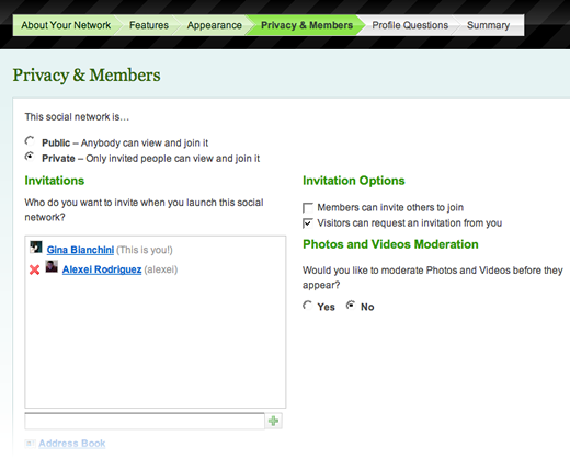 Privacy & Members Page