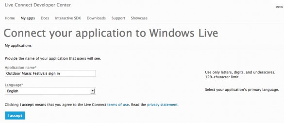 Enable Social Sign In with Windows Live 4