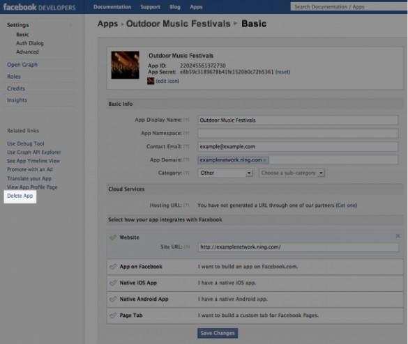 Edit or Delete Your Facebook App 4