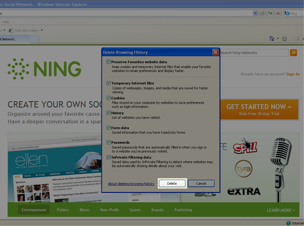 Clear Your Cache in Internet Explorer 8 3