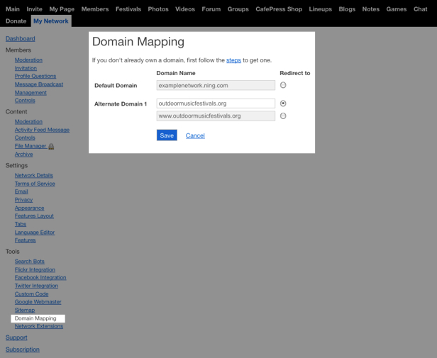 Use Your Own Custom Domain | Ning Help Center