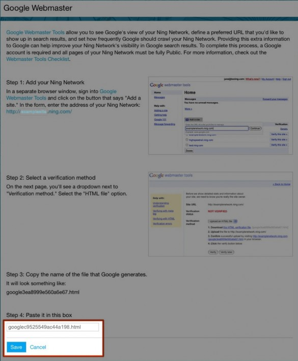 Verify Your Network with Google Webmaster Tools 5