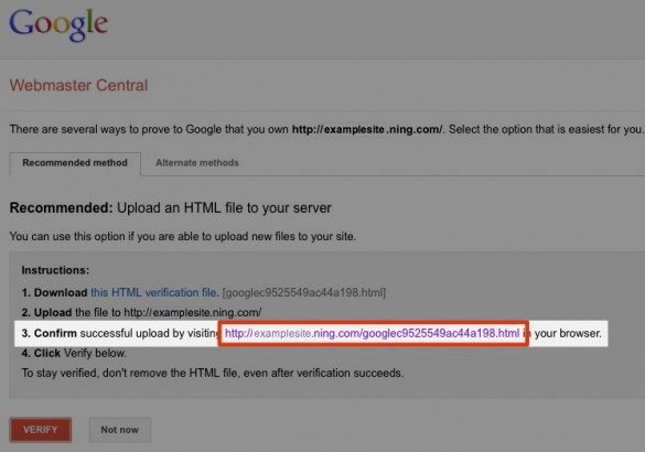 Verify Your Network with Google Webmaster Tools 6