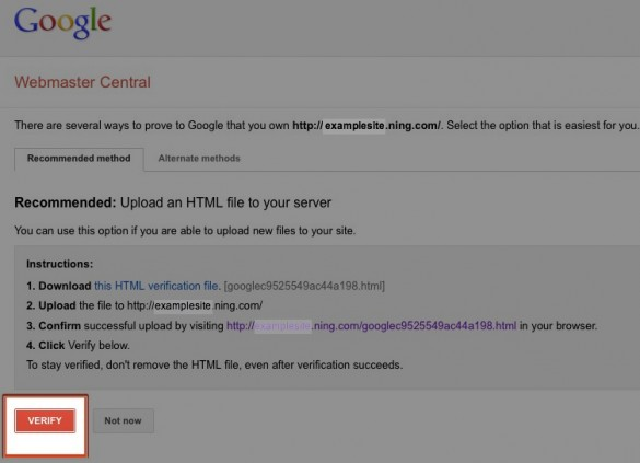 Verify Your Network with Google Webmaster Tools 8