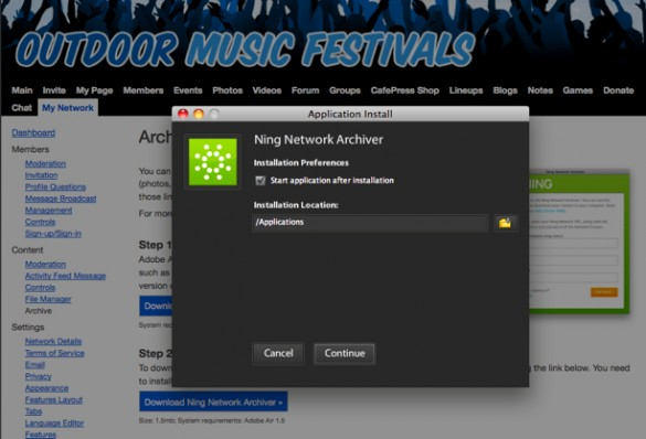 Install the Ning Network Archiver on Your Computer 2