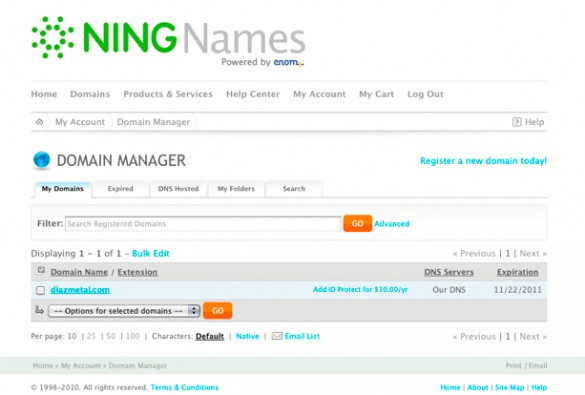 Using Your Own Domain from Ning Names 1