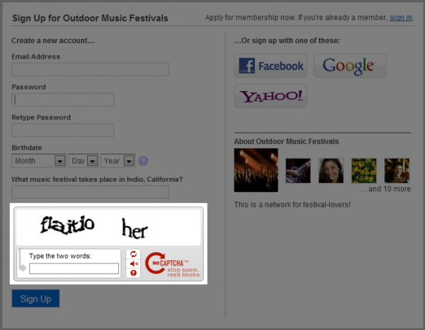 Enter a CAPTCHA During Sign Up