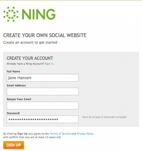Create a Ning Network 3