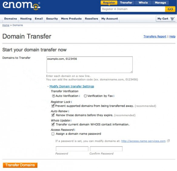 Transfer Your Domain From Another Registrar to Enom 2