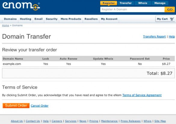 Transfer Your Domain From Another Registrar to Enom 4