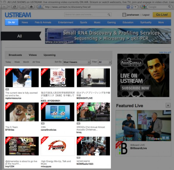 Broadcast Live Video with Ustream 3