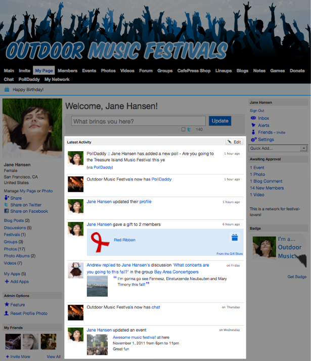 Control What is Included in Your My Page Activity Feed 1
