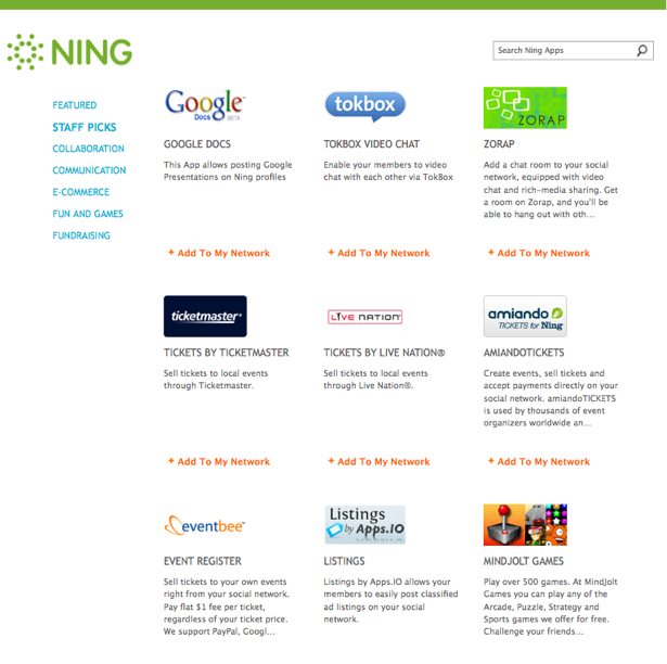 Add Ning Apps to Your Network 2