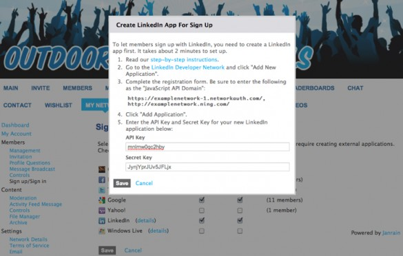 Enable Social Sign In with LinkedIn 4