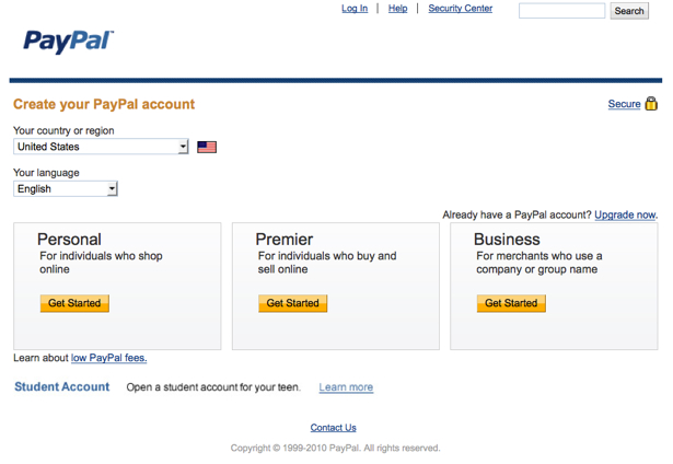 Set Up a PayPal Account 2