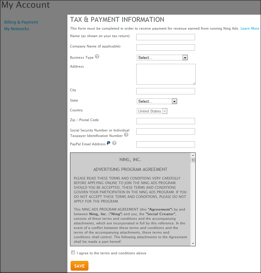 Tax & Payment Information for Ning Ads