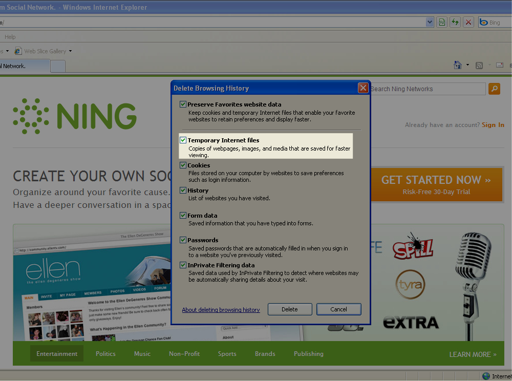 Clear Your Cache in Internet Explorer 8 2