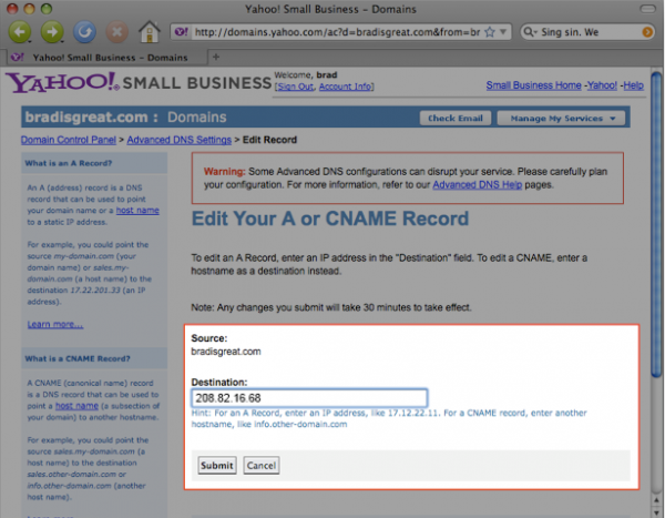 Use Your Own Domain with Yahoo Domains 5