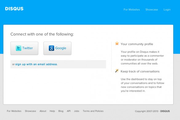 Disqus Sign Up