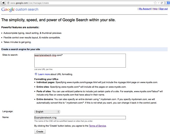 Google Custom Search - Create a Custom Search Engine