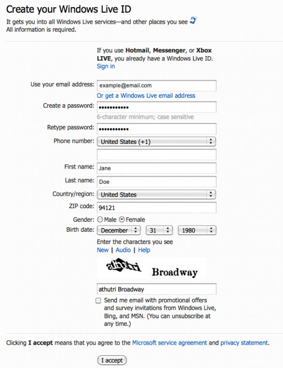 hotmail email sing in