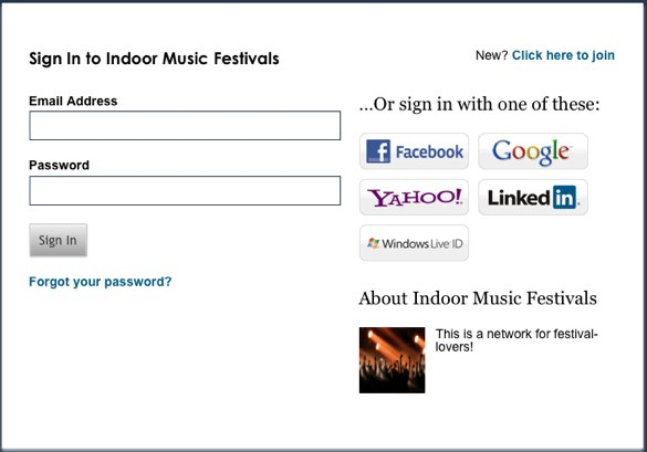 Anonymous facebook login page