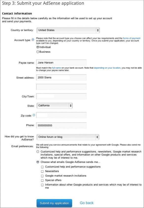 Sign Up for Google AdSense 2