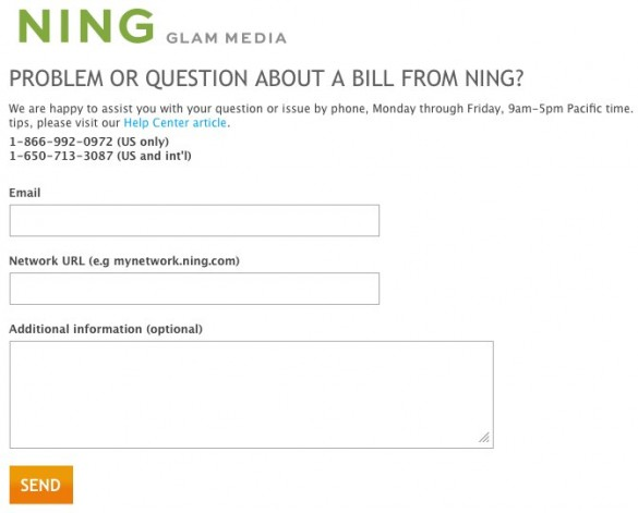 Question about a bill from Ning?