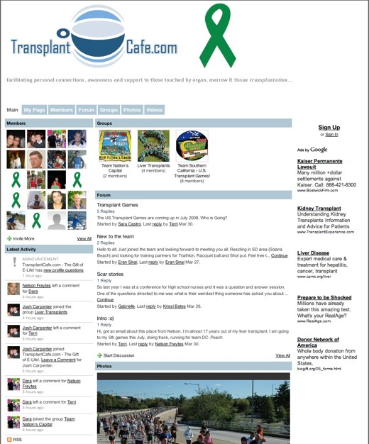 TransplantCafe.com: a place to share your transplant experience