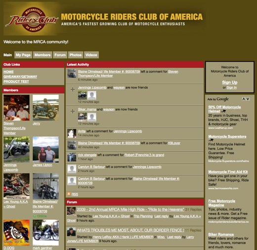 Easy riding at Motorcycle Riders Club