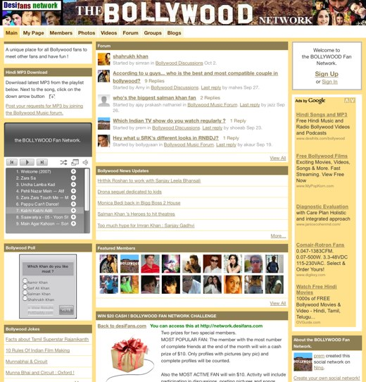 Bollywood online at Desifans