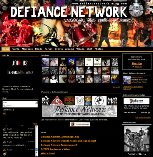 Share in the culture of hardcore and punk music at Defiance Network
