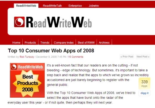 Thanks, ReadWriteWeb!