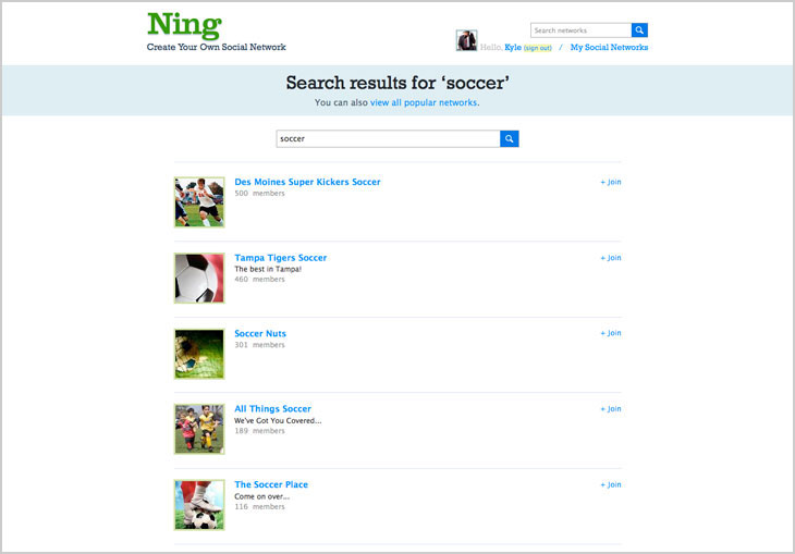 Improved search on Ning.com 1