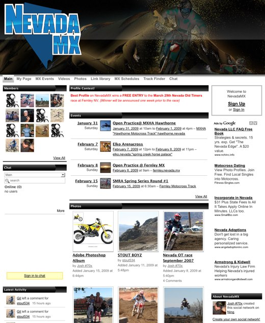 NevadaMX: A social network for Nevada motorbikers