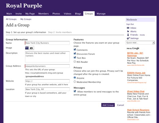 Add a Group - Royal Purple