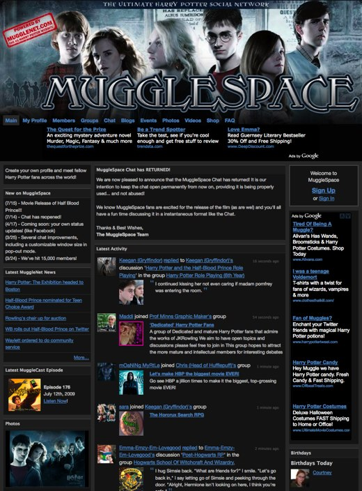 MuggleSpace - The ULTIMATE Harry Potter Social Network