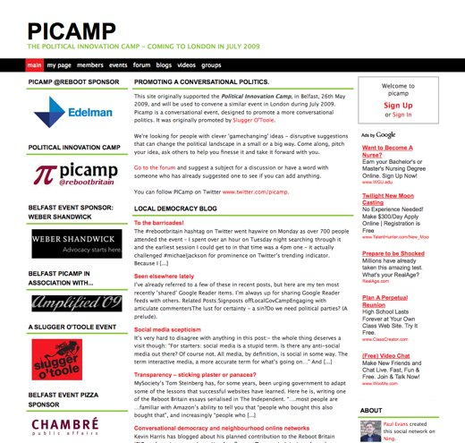 picamp - The Political Innovation Camp - coming to London in July 2009