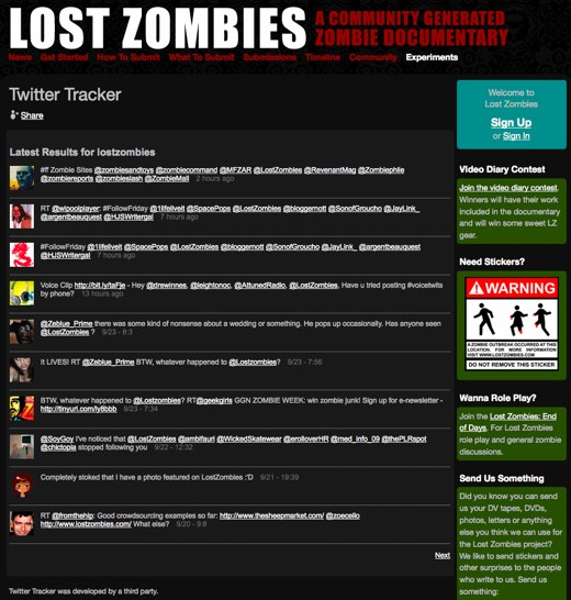 Twitter Tracker - Lost Zombies