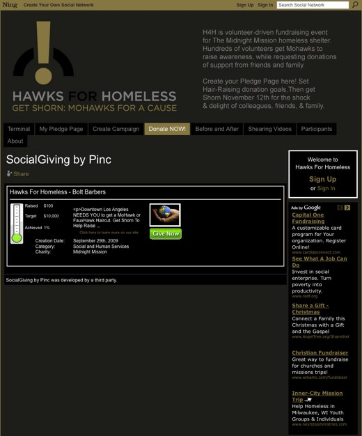 SocialGiving by Pinc - Hawks For Homeless