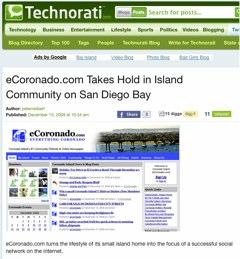 eCoronado.com Takes Hold in Island Community on San Diego Bay Blogging - Technorati-1