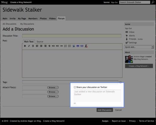 Add a Discussion - Sidewalk Stalker