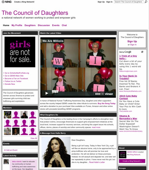 The Council of Daughters - a national network of women working to protect and empower girls