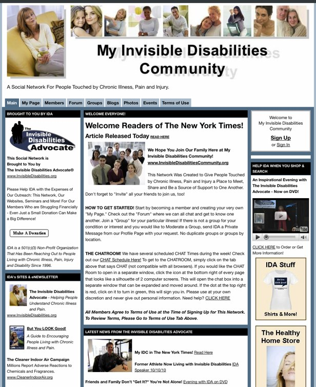 My Invisible Disabilities Community - A Social Network For People Touched by Chronic Illness, Pain and Injury.